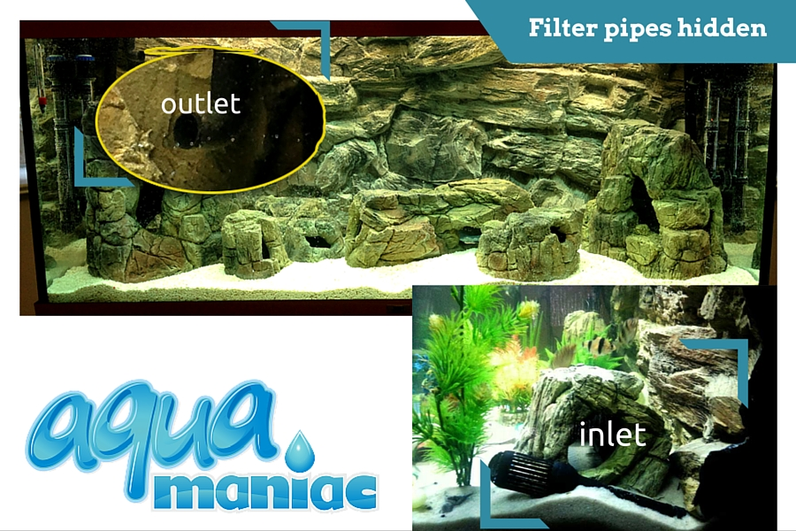 Filter inlet and outlet in front of 3d rock background